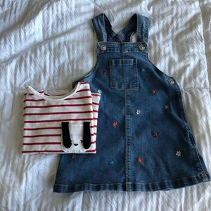 HM 2T denim overall dress and top